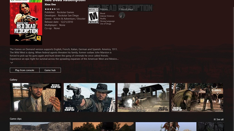 Red Dead Redemption Listed on Xbox App Store as being